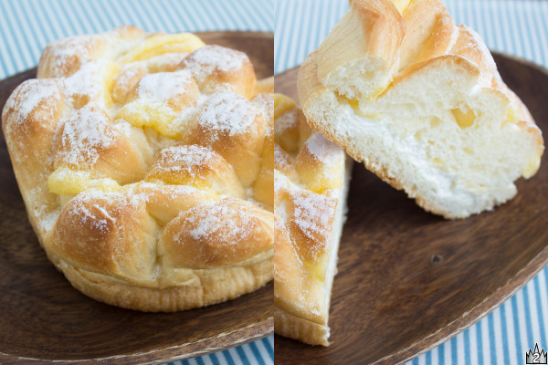ミルクを練りこんだ生地にシュー生地をかぶせて焼き上げ、ホイップとカスタードをサンドしたパン。