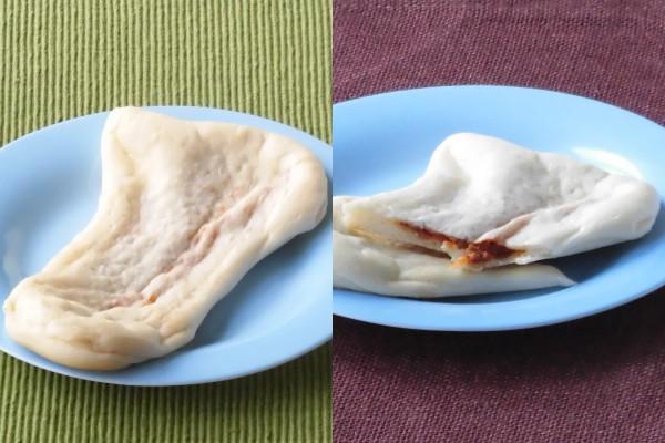 薄く延ばされた長三角形の生地の中に、チキンのひき肉を使ったカレーが挟み込まれている。