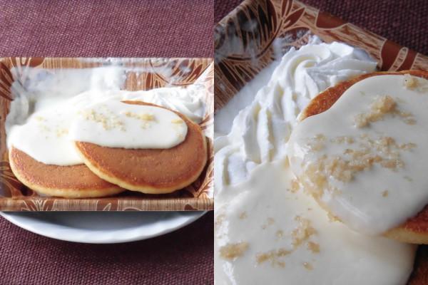 パンケーキが2枚、その上にはココナッツソースとトッピングのマカダミアナッツ。ホイップクリームも添えられている。