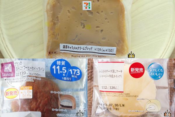 3位:サークルKサンクス「ふんわりチーズ蒸しケーキ(ジャージー牛乳ホイップ)」、2位:ローソン「ブランのほろにがコーヒーホイップパン」、1位:セブン-イレブン「濃厚キャラメルクリームブレッド」