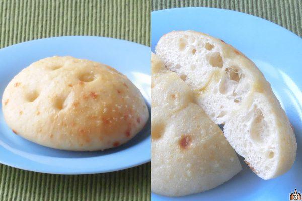 ジャガイモを練り込んでもちっとした食感のチーズ味生地に、オリーブオイルを塗りチーズをかけて焼き上げた香ばしい風味と旨味が味わえる総菜パン。