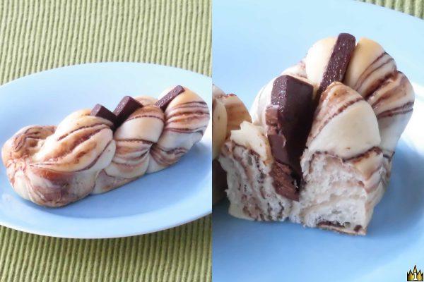 チョコを折り込んだ生地をひねってツイスト状に焼き上げ、真ん中に入れた切れ込みにチョコクリームを絞っていたチョコを挟んだ菓子パン。