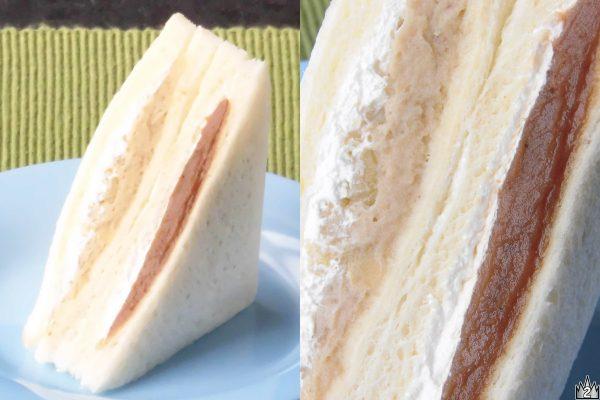 食感とラム酒、2種のモンブランフィリングを使ったサンドイッチ。