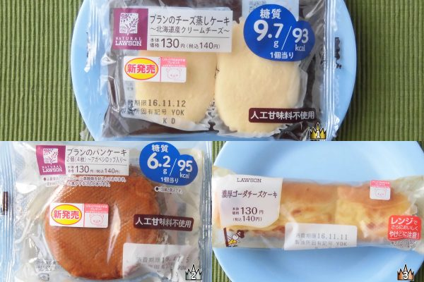 3位:ローソン「濃厚ゴーダチーズケーキ」、2位:ローソン「ブランのパンケーキ2個(4枚) ~アガベシロップ入り~」、1位:ローソン「ブランのチーズ蒸しケーキ ~北海道産クリームチーズ~」