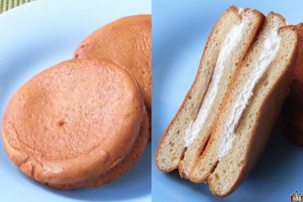 メレンゲを加えてふんわり焼き上げたブラン粉のパンケーキに軽いホイップとアガベシロップをサンド