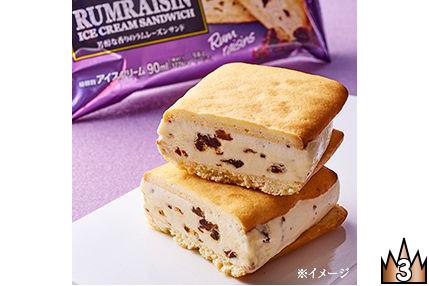 芳醇なラムレーズンアイスをバター風味のクッキーでサンドしたクッキーサンドアイス