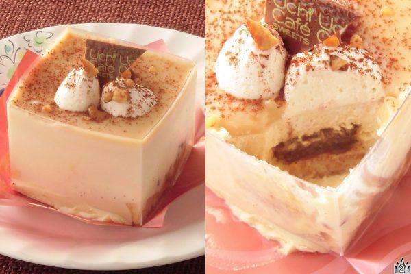 バニラムースとビターシロップを含ませたスポンジ、ブロンドチョコムースを重ねてブロンドチョコグラサージュをかけたスペシャルなケーキ