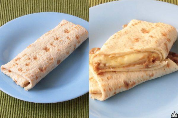 ゴーダとモッツァレラそして餅を、キャベツと紅ショウガを混ぜ込んだお好みソースとともに巻き込んだブリトー