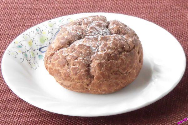粉砂糖がかかったココア入りシュー生地にヘーゼルプラリネ入りチョコカスタードを詰め込んだシュークリーム