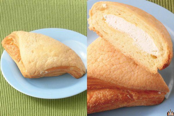 デニッシュ生地でカスタードクリームを包みビスケット生地をかぶせて焼き上げたのちミルククリームを入れたメロンパン