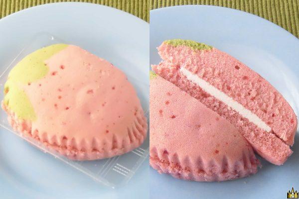 ふんわり軽い生地に甘酸っぱいストロベリーシュガーチップを練り込み、北海道十勝産牛乳使用のホイップをサンドしたいちごモチーフの蒸しケーキ。