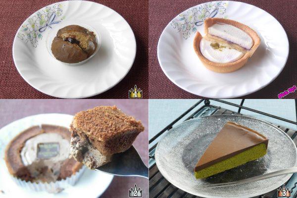 3位:セブン-イレブン「宇治抹茶の生ガトーショコラ」、2位:ローソン「Uchi Cafe Sweets × GODIVA ショコラロールケーキ」、ピックアップ:ローソン「レアチーズタルト」、1位:セブン-イレブン「ふわっとろ ほうじ茶くりぃむわらび(黒蜜入り)」