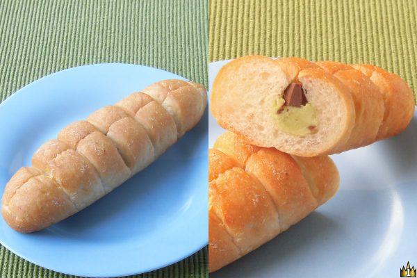 ちぎりやすく香ばしいフランスパンに、アーモンド・グラニュー糖入りのピスタチオクリームとダイスチョコをサンド。