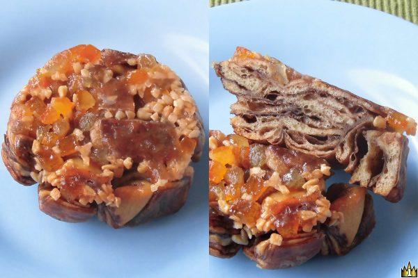 ココア風味のデニッシュ生地にアーモンドとオレンジピールを乗せて飴をかけ、カリッと焼き上げたクロッカン風パン。
