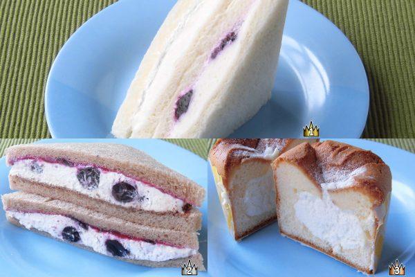 3位:ローソン「ふわふわシフォンケーキ 瀬戸内産レモン」、2位:セブン-イレブン「ブルーベリーのショコラサンド」、1位:ローソン「レアチーズケーキサンド」