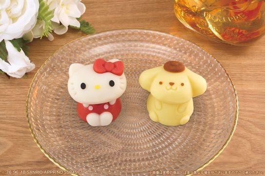"""ハローキティとポムポムプリンの""""和菓子""""がローソンで発売  「食べマス」シリーズにサンリオキャラが初登場"""