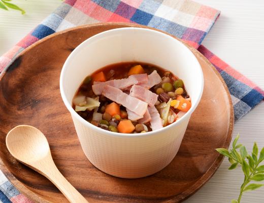 もち麦プチプチ!ベーコンと豆のトマトスープ